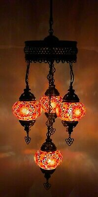 £84.98 • Buy Turkish Moroccan Glass Mosaic Red Colour Hanging Lamp Ceiling Light Chandeliers