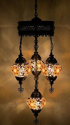 £84.98 • Buy Turkish Moroccan Glass Mosaic Brown/Gold Hanging Lamp Ceiling Light Chandeliers