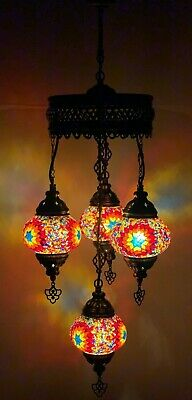 £84.98 • Buy Turkish Moroccan Glass Mosaic Hanging Lamp Ceiling Light Chandeliers