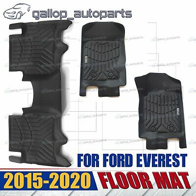 AU113.16 • Buy Matt Black 3D TPE Floor Mats Fit Ford EVEREST 2016-2018 Waterproof AU Stock
