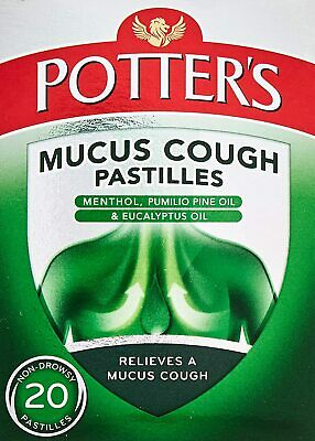 £5.90 • Buy Potters Mucus Cough Pastilles With Menthol And Eucalyptus Oil - 20