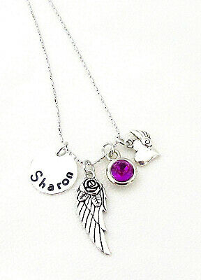 Personalized Angel Wing Necklace Memorial Necklace Remembrance Jewelry In Memory • 13.38£