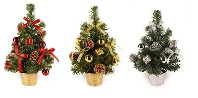 Small Dressed Table Top Christmas Tree - Decorations Included - Silver Gold Red • 8.36£