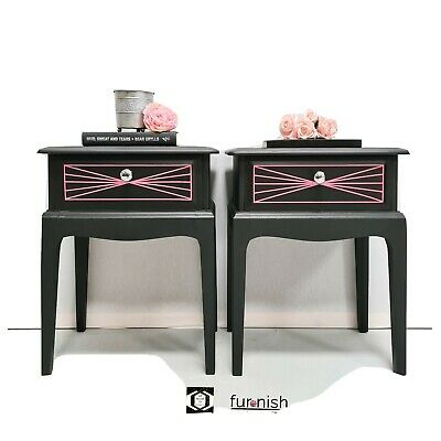 Stag Minstrel  Bedside Tables, Drawers,  Cabinets Handpainted Black Geometric  • 345£