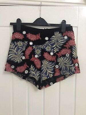 £10 • Buy Topshop High Waisted Black Suede Shorts With Embroidered Embellishments Size 10