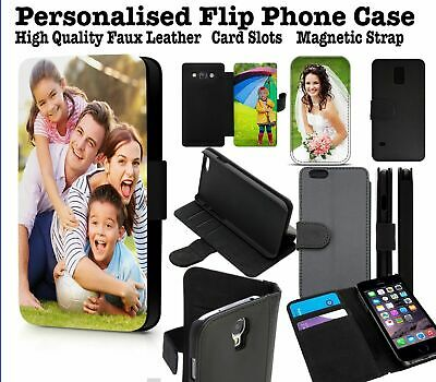 Personalised Phone Case Custom Photo Faux Leather Wallet Flip Cover IPhone 12 • 10.99£