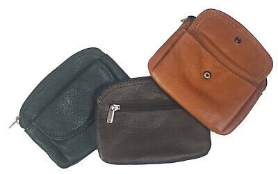 $7.99 • Buy Genuine Leather Woman Men Coin Purse Cowhide Change Purse Coin Pouch, Key Ring