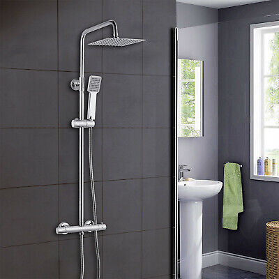 Thermostatic Exposed Shower Mixer Bathroom Twin Head Large Square Bar Set Chrome • 59£