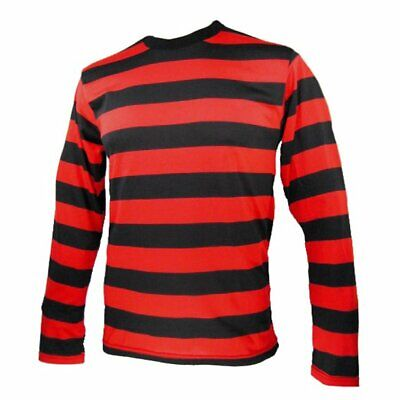 Unisex Red Black Striped T-Shirt Denis Top Full Sleeve Fancy Dress Outfit UK • 6.50£