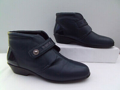 PAVERS WOMENS ANKLE BOOTS UK7 EU 40 Touch Close Fasten Wider Access 2 Tone Navy  • 11.99£