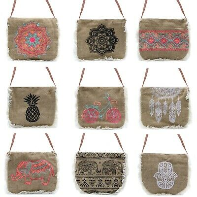 £9.10 • Buy Fringe Bag With Strap Printed Or Embroidered Design Eco Friendly Jute Fabric