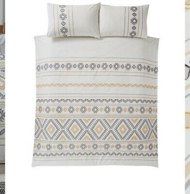 Home By Very Aztec Cut Duvet Cover 2 Pillow Cases  White Ochre Grey RRP £45 • 34.99£