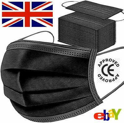 50 X Disposable Black Face Masks 3 Ply Dental Non Medical Surgical Mask Covering • 6.95£