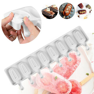 UK Silicone 8 Cell Frozen Mould Tray Kitchen Ice Cream Lolly Cake Popsicle Maker • 7.89£