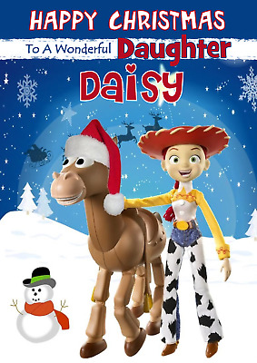Toy Story Jessie And Bullseye Personalised A5 Christmas Card -ANY- RELATION NAME • 2.95£