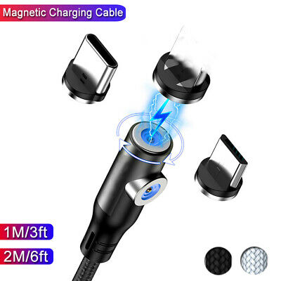 Magnetic For Apple Android Type C Micro USB Lightning Fast Charger Cable Lead • 4.17£