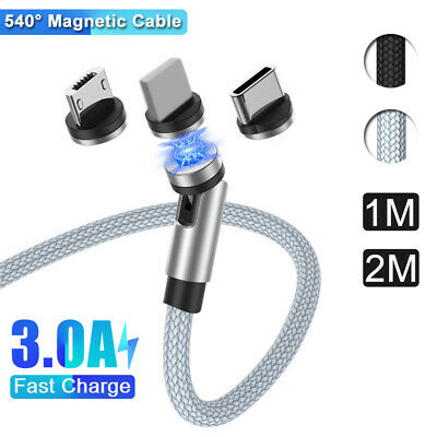 3 In 1 Magnetic Type C Micro USB Android / IPhone Lead Fast Charge Charger Cable • 3.72£