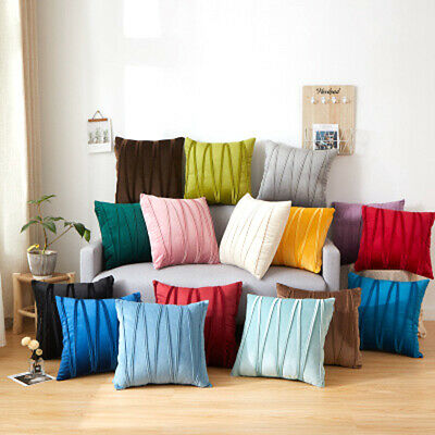 Velvet Striped Pillow Cover Cases Home Sofa Car Pillowcases Cushion Cover • 6.56£