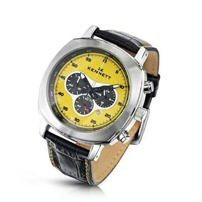 KENNETT Men's Quartz Watch With Yellow Dial Chronograph Display And Black Leathe • 200£