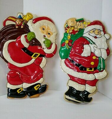$ CDN26.30 • Buy Vintage Molded Plastic Christmas Wall Decorations 3-D Santa Claus Qty 2