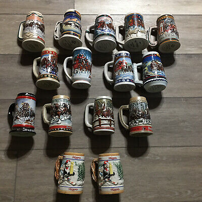 $ CDN106.22 • Buy Vintage Budweiser Clydesdale Steins Hamms 86 87 88 92 93 More Lot Of 15 Steins