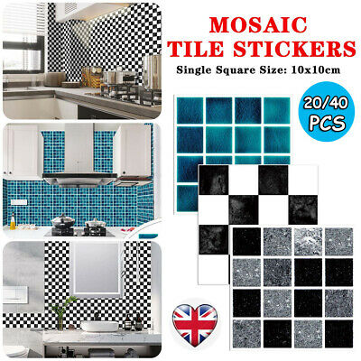 40PC Kitchen Tile Stickers Bathroom Mosaic Sticker Self-adhesive Wall Home Decor • 7.95£