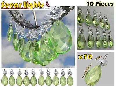 £21.99 • Buy 10 Sage Green Chandelier Oval Glass Crystals Drops Prisms Droplets Beads Retro