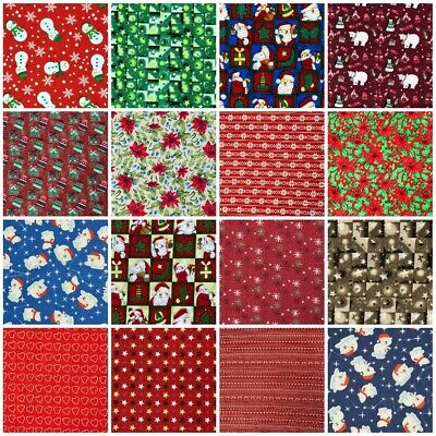 Christmas Fabric Fat Quarter Metre 100% Cotton Xmas Quilting Craft Face Mask Red • 3.30£