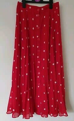 And Other Stories Red Polka Dot Midi Pleated Skirt, Buttoned, Size EU 34, XS, S • 18£