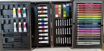 Artist Set In Cantilevered Wood Case, Pencils,Acrylic, Oil Pastels, Watercolours • 12.50£