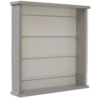 £79.99 • Buy Solid Wood Wall Display Cabinet With 4 Adjustable Glass Shelves - Grey 3311OC