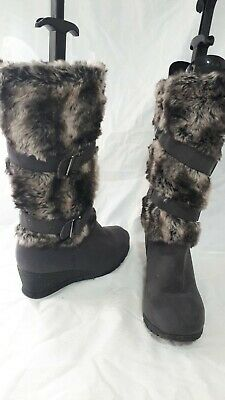 Pavers Ladies Grey Long Boots Fur Trim Size 5 / 38 • 19.40£