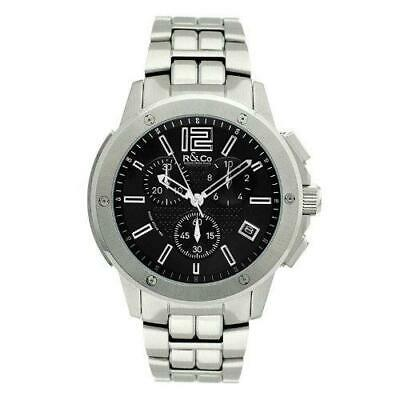 R&Co Men's Quartz Watch With Black Dial Chronograph Display And Silver Stainless • 400£