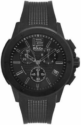 R&Co Men's Quartz Watch With Black Dial Chronograph Display And Black Rubber Str • 370£