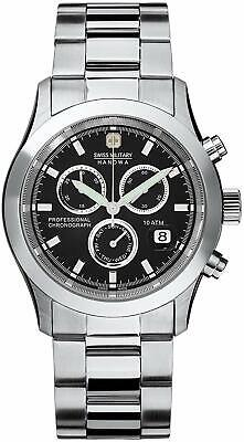 Swiss Military Men's Quartz Watch With Black Dial Chronograph Display And Silver • 150£