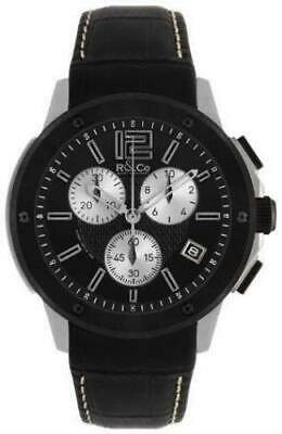 R&Co Men's Quartz Watch With Black Dial Chronograph Display And Black Leather St • 350£