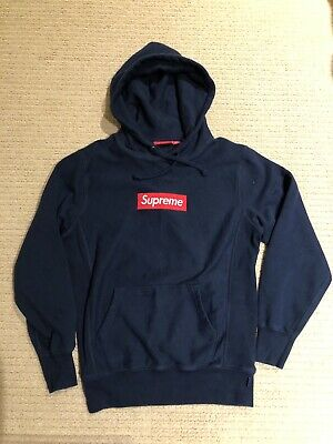$ CDN534.64 • Buy Authentic Supreme Red Box Logo Navy Blue Hoodie Size Small
