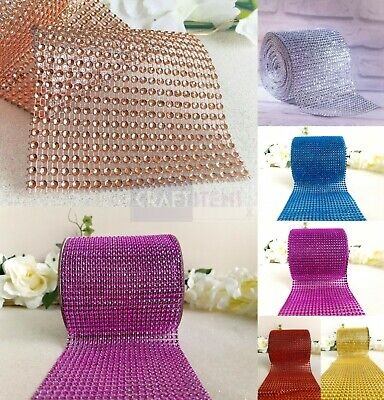 Diamante Effect Ribbon Trim Wedding Cake Mesh Wrap Bling Art & Craft DIY • 1.76£