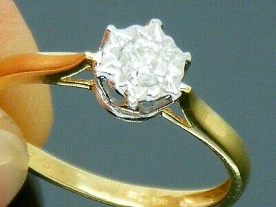 18ct Gold 0.10ct Diamond Solitaire Hallmarked Engagement Ring Size J • 51£