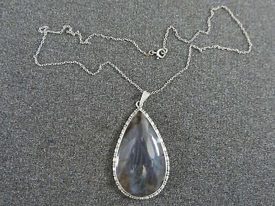Large Edwardian Marked Sterling Silver Iridescent Butterfly Wing Pendant & Chain • 25£