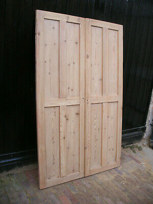 Pair Of Large Reclaimed Victorian 4 Panel Stripped Pine Cupboard Doors  • 130£