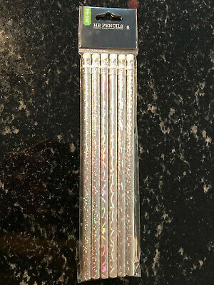 6 X Silver Holographic HB Pencils With Erasers NEW • 1.50£