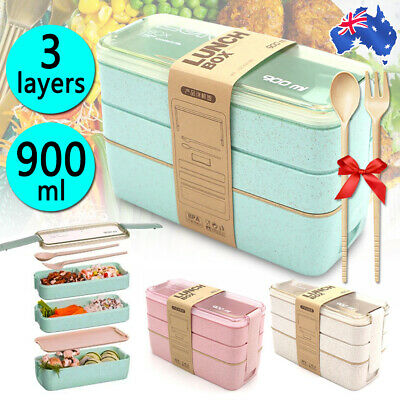 AU13.29 • Buy 900ml Lunch Box 3-Layer Bento Box Students Eco-Friendly Leakproof Food Container