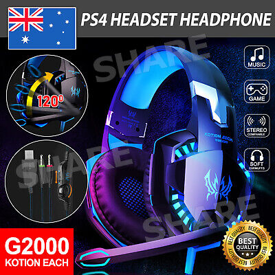 AU35.95 • Buy 3.5mm Gaming Headset MIC LED Headphones Surround For PC Mac Laptop PS4 Xbox One