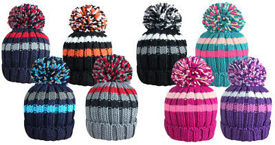 £4.99 • Buy Kids Unisex Woolly Hat Boys Girls Knitted Striped Thermal Winter O/S Junior