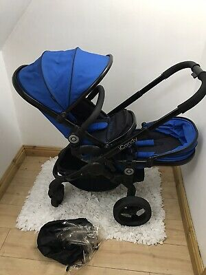 Icandy Peach3 Double Pushchair / Pram/ Buggy In Blue And Black/ • 289£