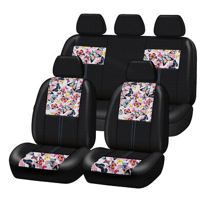 AU89.29 • Buy Universal Pink Butterfly PU Leather Car Seat Covers For Women Girls Side Airbag