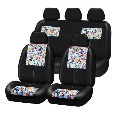 AU89.29 • Buy Universal Blue Butterfly Leather Car Seat Cover Airbag Compatible For SUV Sedan