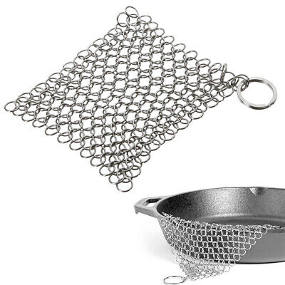 10 X 10CM Stainless Steel Skillet Cast Iron Cleaning Chainmail Ringer Scrubber H • 4.89£
