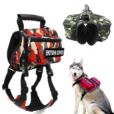 £11.99 • Buy Pet Saddle Bag Hiking Training Outdoor Service Dog Harness Backpack & 2 Patches